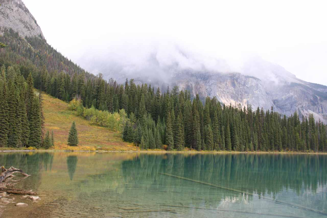 There were still lots of clouds around Emerald Lake so that kind of muted the peaks that would have been reflected in the calm waters of the lake