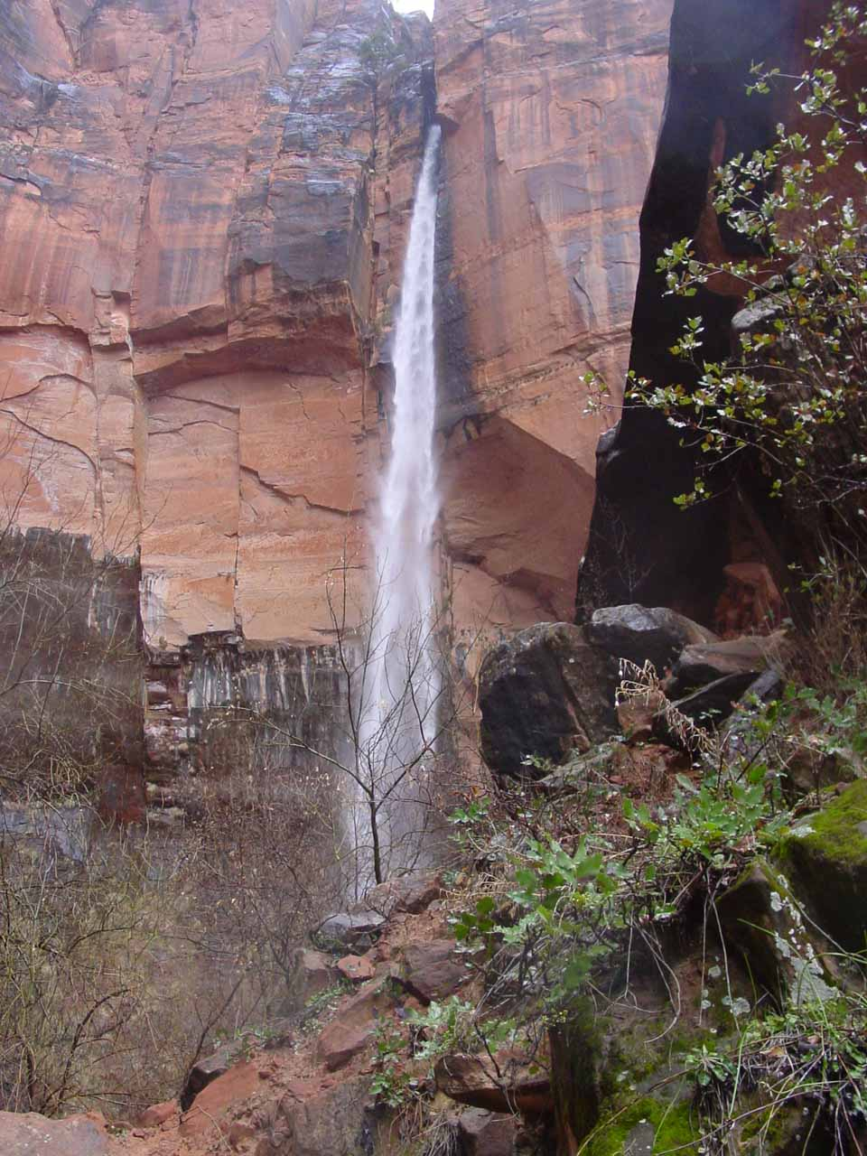 Closeup view of the Upper Emerald Pool waterfall