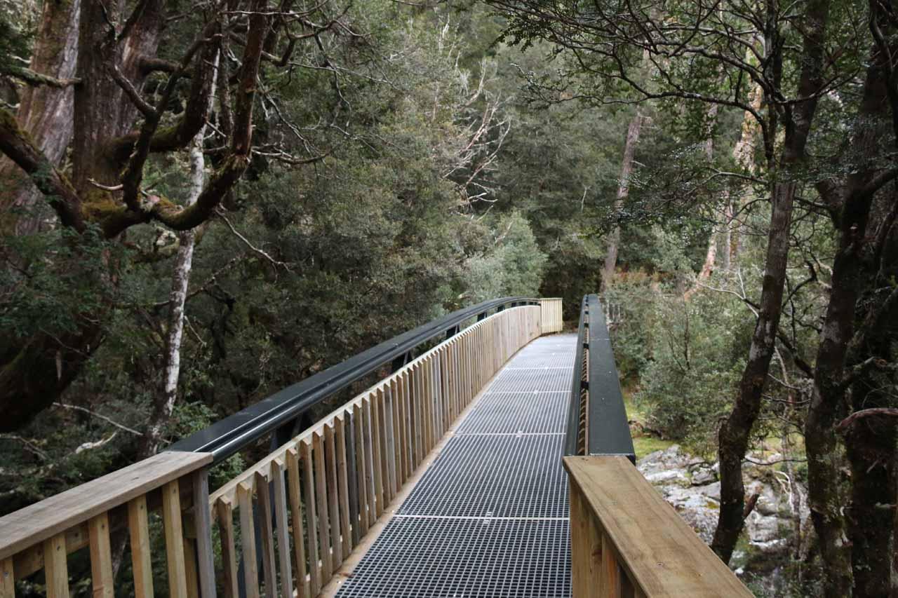 Going across a bridge over Pencil Pine Creek