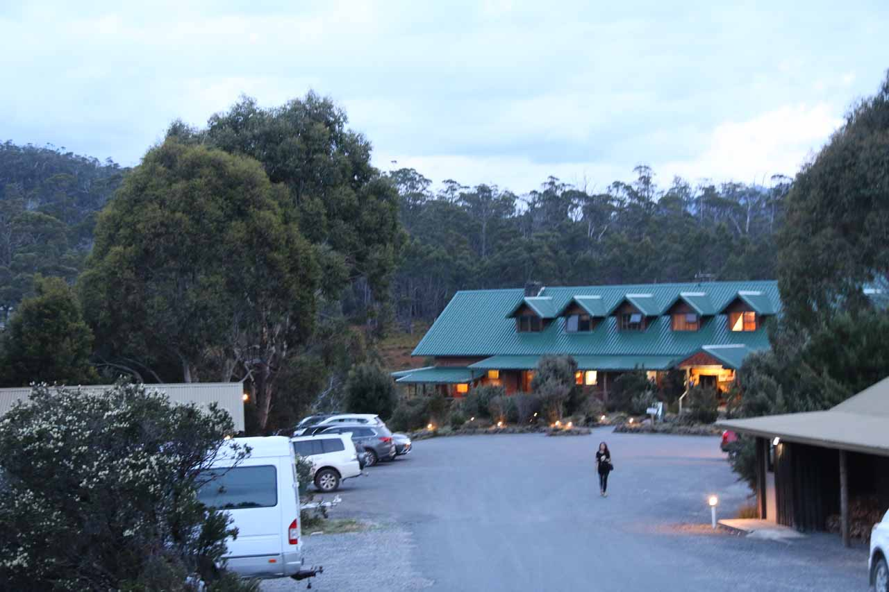 Looking back at the reception area for the Cradle Mountain Lodge as it was getting dark