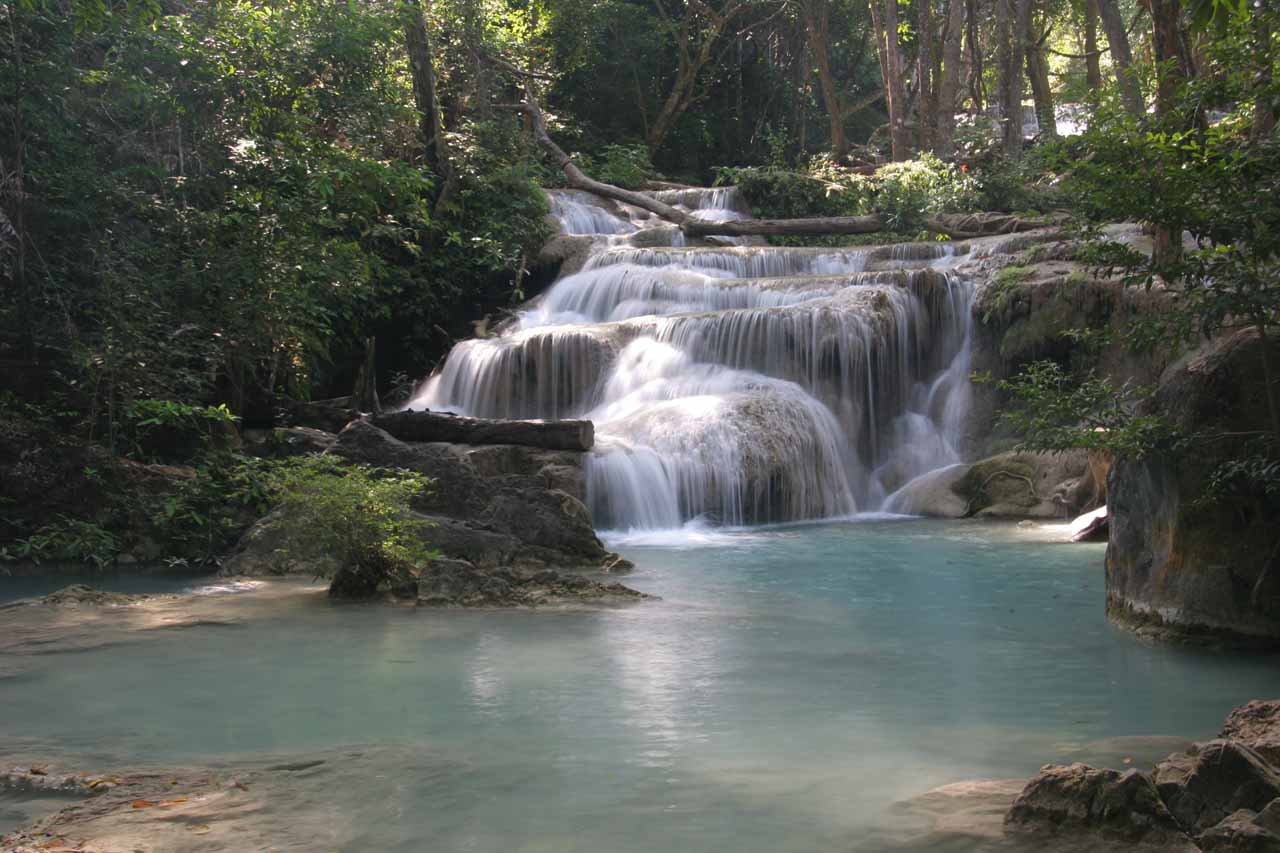 Direct look at the first Erawan Waterfall