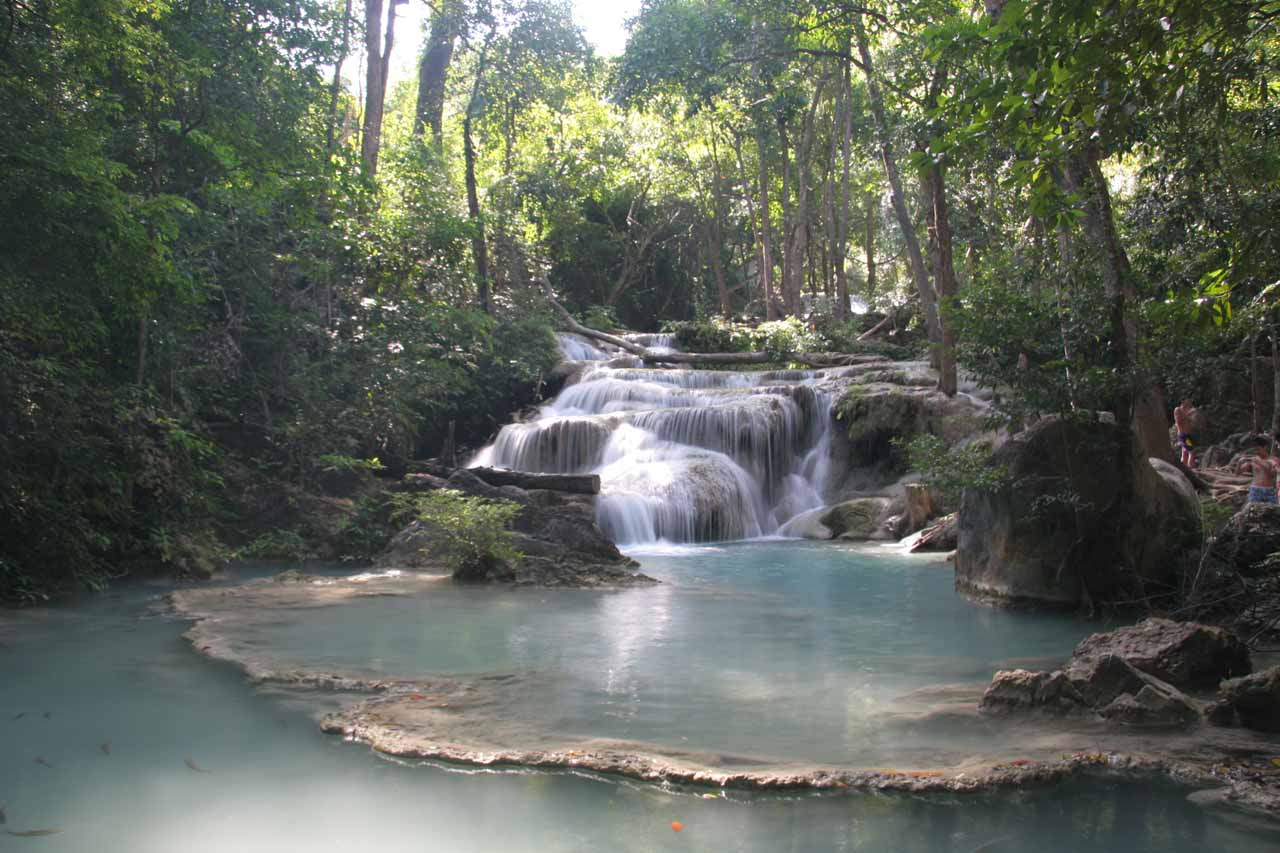 The first Erawan Waterfall with its travertine dam and plenty of fish