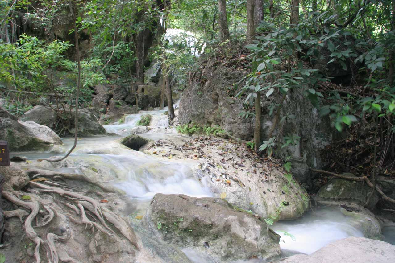 Some stream walking required to get to the sixth Erawan Waterfall