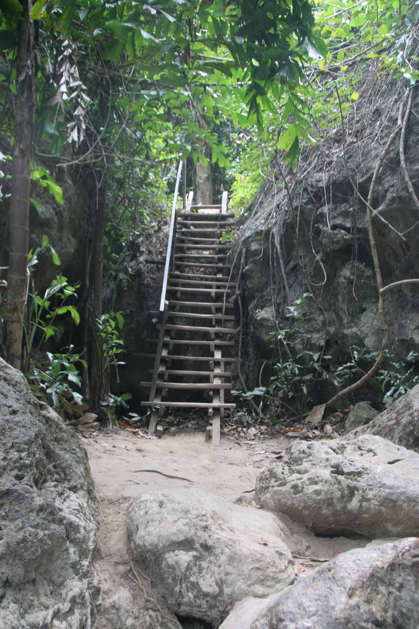 One of the rickety steps en route to the sixth Erawan Waterfall