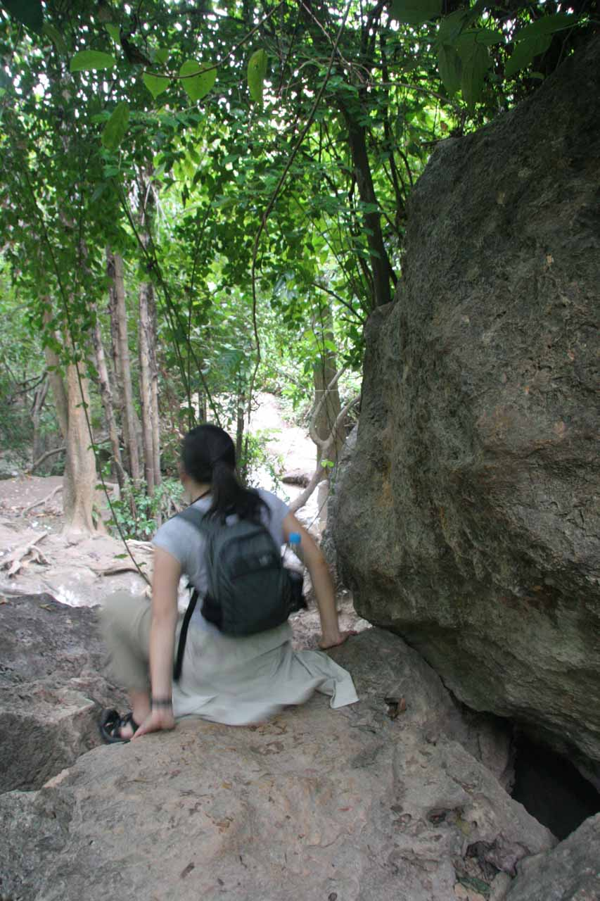 Some parts of the trail beyond the 6th Erawan Waterfall required a bit of scrambling
