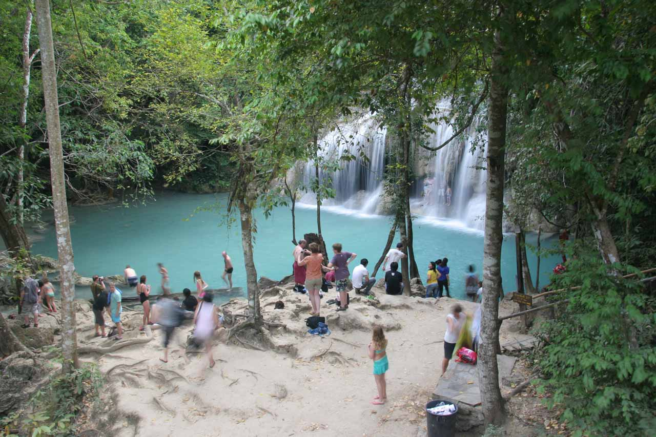 Imagine our surprise when we returned to the second Erawan Waterfall and saw there were still this many people here!