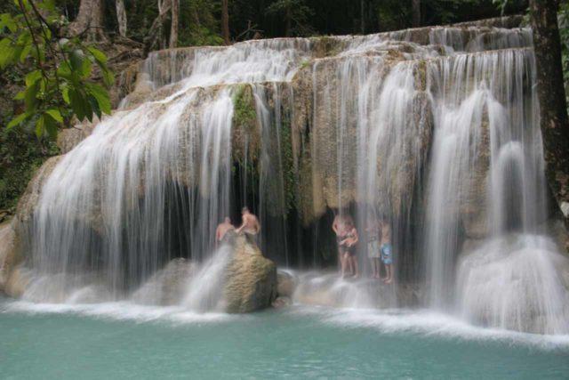 Erawan_Waterfalls_170_12252008 - People enjoying the backside of the second Erawan Waterfall