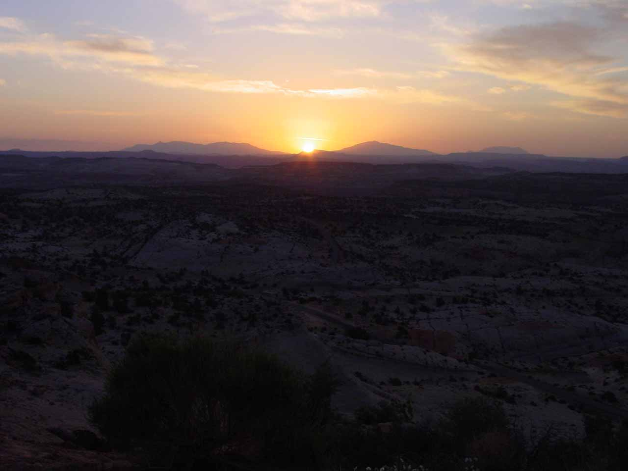 Sunrise over the slickrock expanse of Escalante