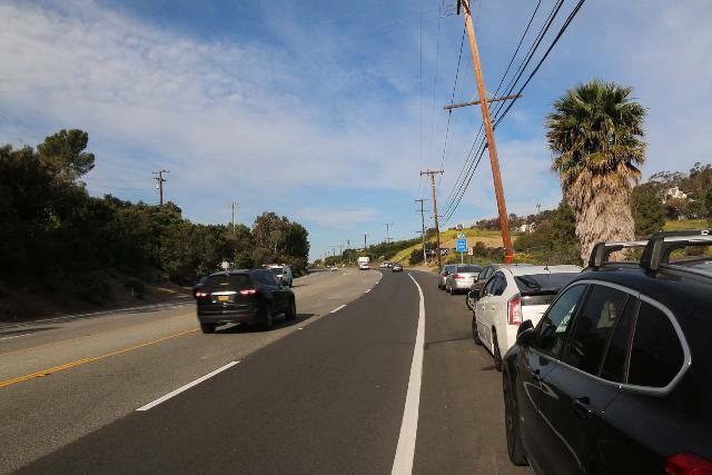 Escondido_Falls_002_04072019 - Street parking along the very busy PCH at the start of the hike to Escondido Falls by Winding Way Road