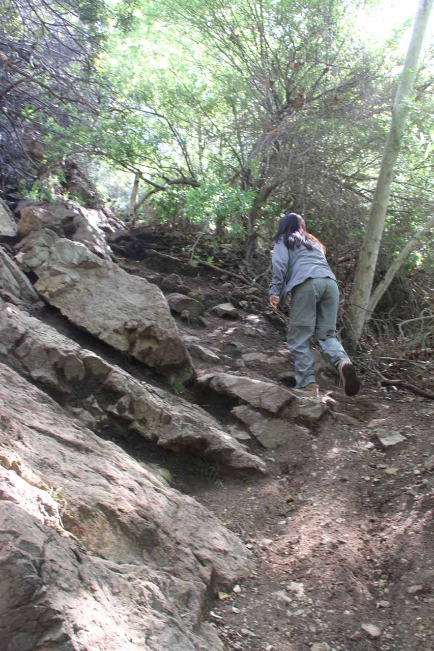 Julie starting the steep ascent to the Upper Escondido Falls