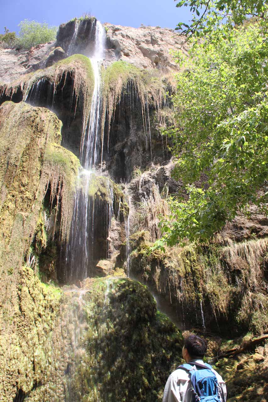 Looking up at the upper tiers of Escondido Falls in the Santa Monica Mountains