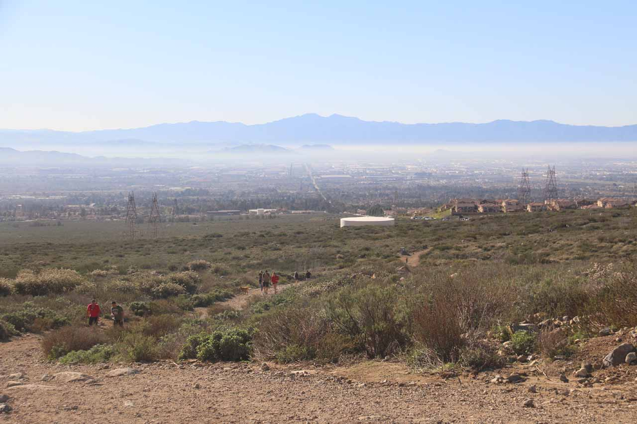 Looking back at the hazy Inland Empire from the trail to Etiwanda Falls