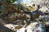 Etiwanda_Falls_155_02272021 - Looking back up at the route that I took to climb down to the base of Lower Etiwanda Falls. Notice the graffiti in the area