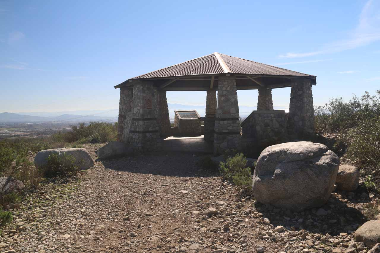 The shelter with interpretive signs of the North Etiwanda Preserve