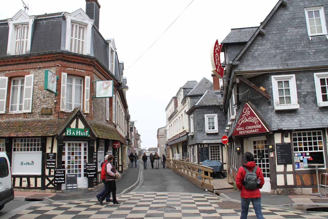 walking through the charming town of Etretat