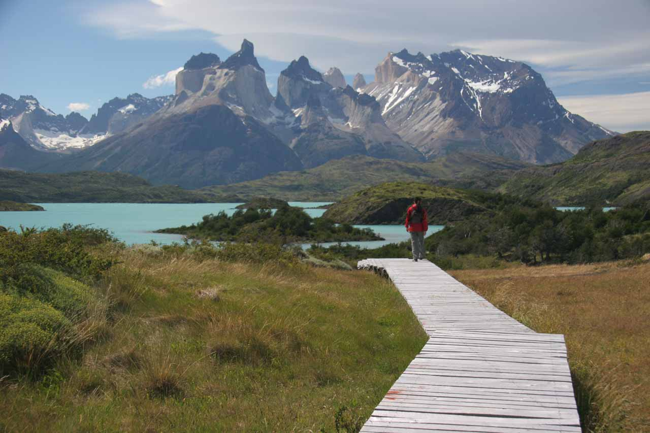 Julie on the boardwalk soaking in the tremendous panoramas of the Curenos del Paine and Lago Pehoe as we were done checking out Salto Chico
