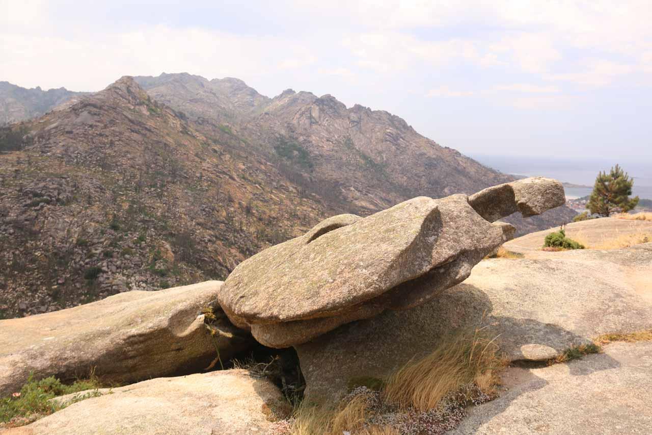 Closer look at some of the shaped rocks atop the Mirador do Ezaro