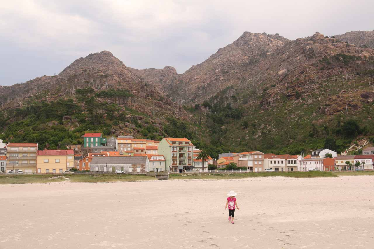 On the beach at Ezaro looking back towards the town and the mountains backing it
