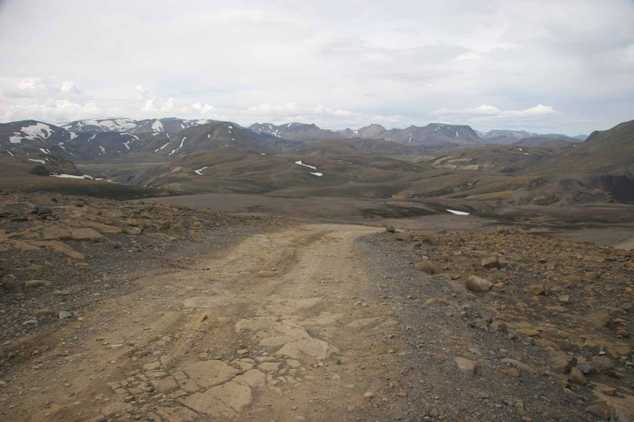 Here's a view of the road we had to take to continue to Landmannalaugur