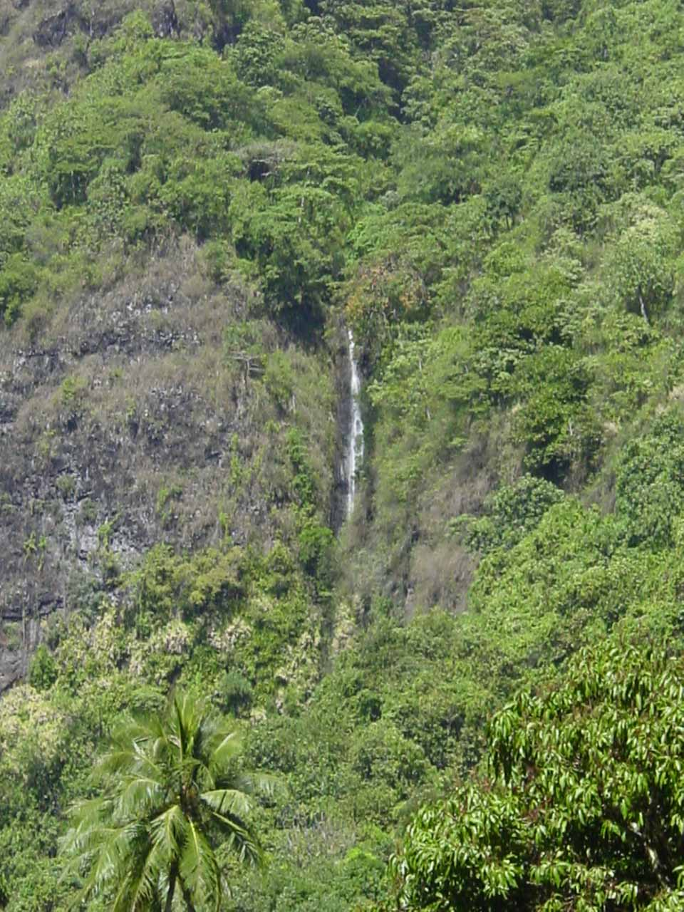 View of one of the Faarumai Waterfalls while walking the road