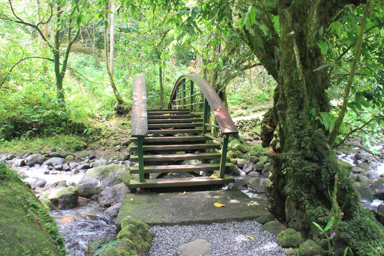 Bridge crossing over a stream responsible for the other two Faarumai Waterfalls
