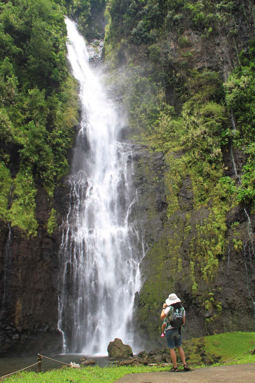 Julie and Tahia enjoying Vaimahutu Falls