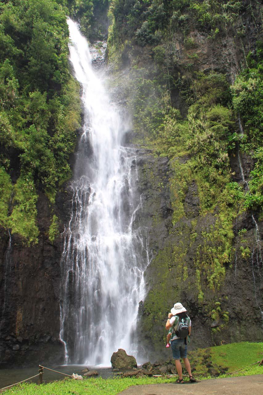 Julie and Tahia enjoying Vaimahutu Falls
