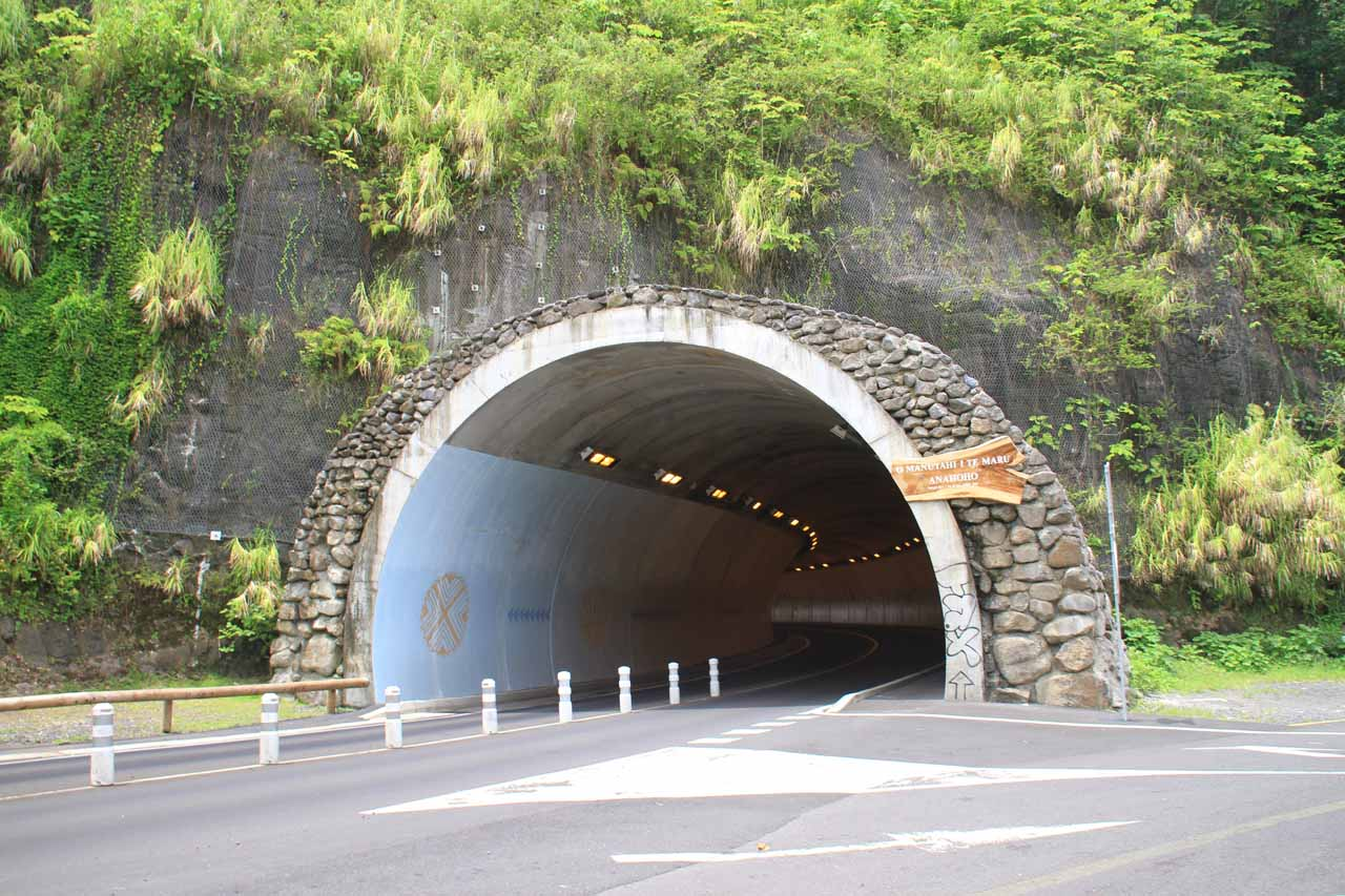 The tunnel next to the Arohoho Blowhole car park