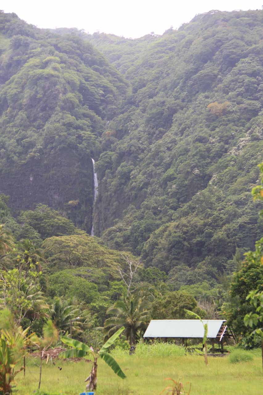 One of the Faarumai Waterfalls as seen from the main road