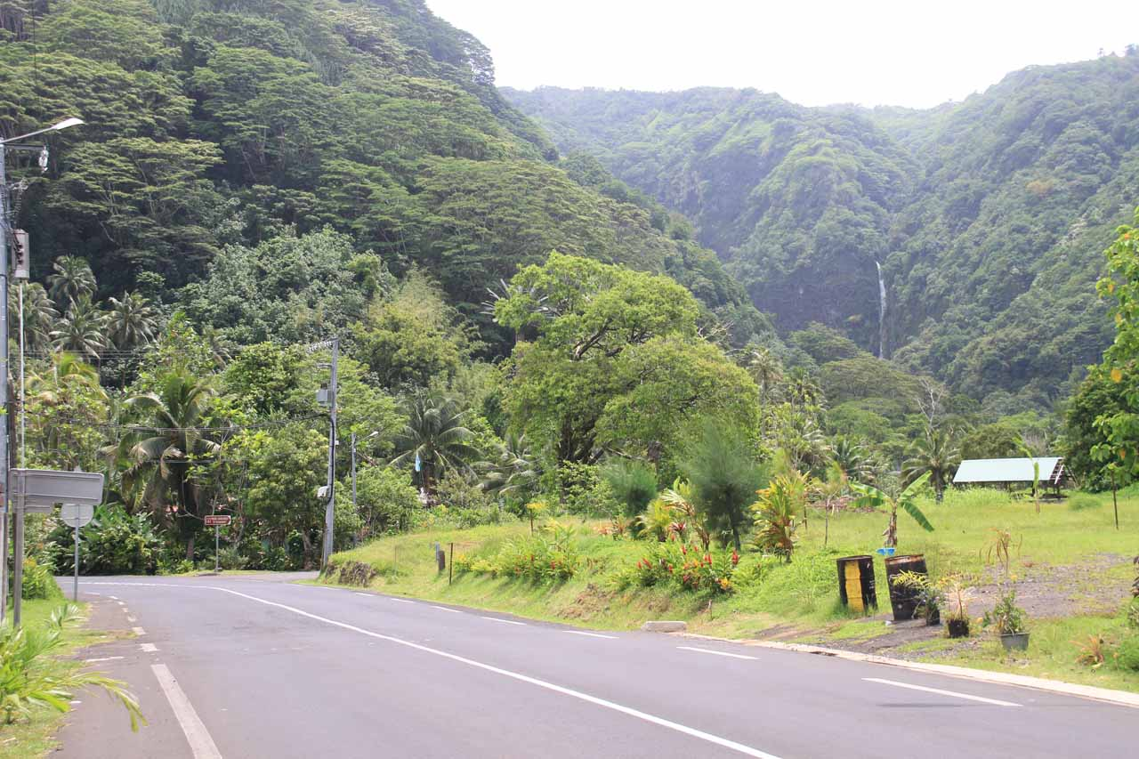 The upper sections of one of the Faarumai Waterfalls as seen from the main road