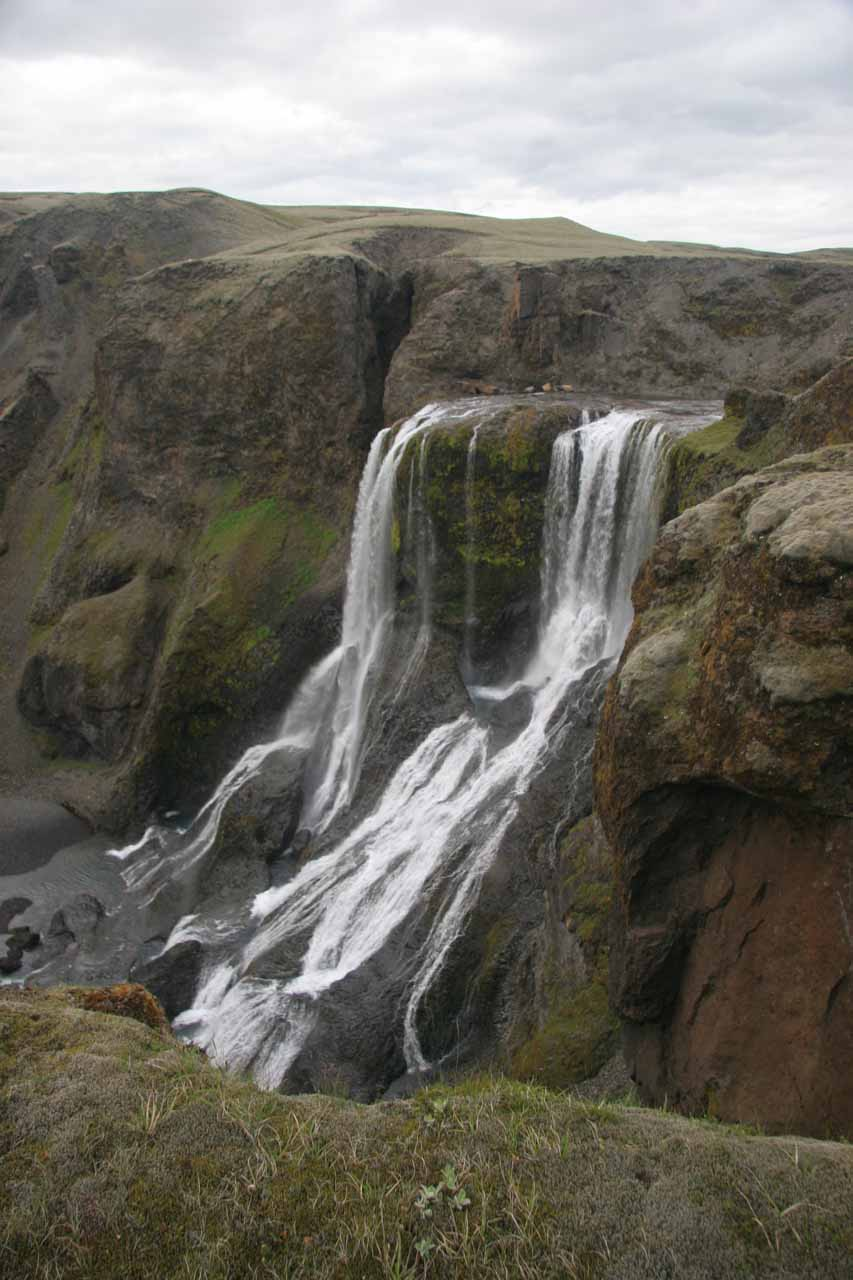 When we mercifully made it to the car park for Fagrifoss, we didn't have to go far to get this angled view of the falls