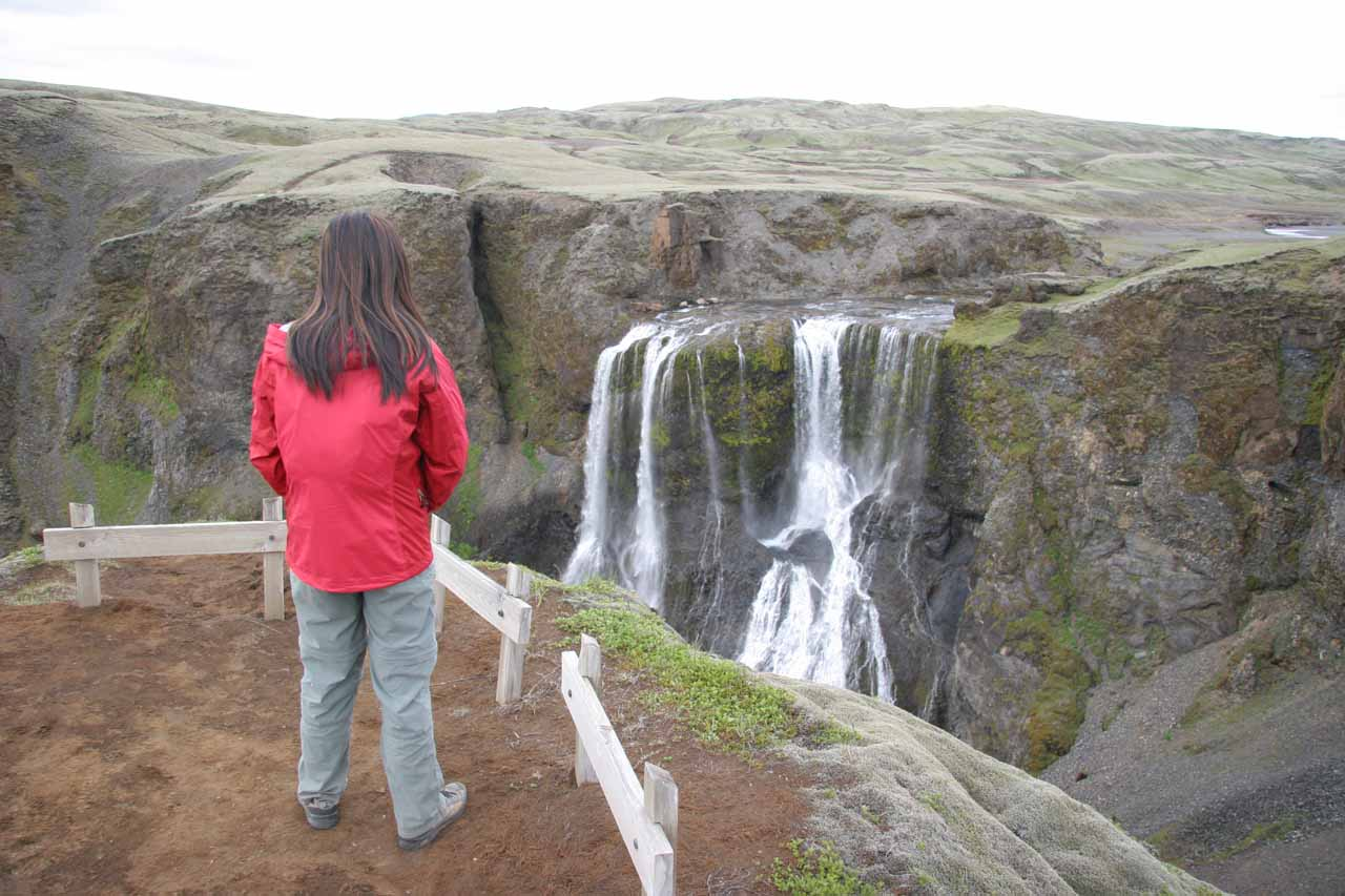 Julie looking at Fagrifoss from the official lookout