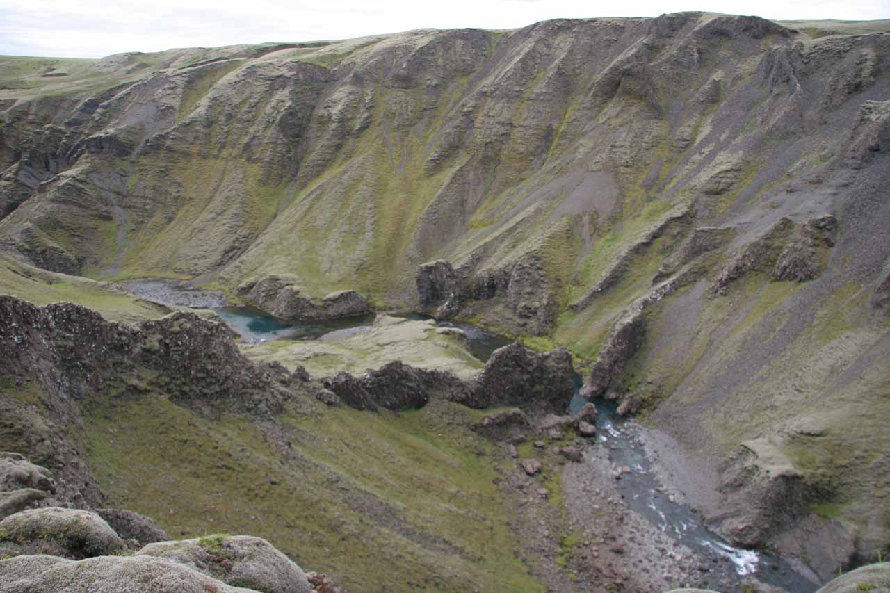 Looking downstream from Fagrifoss at the rugged landscape