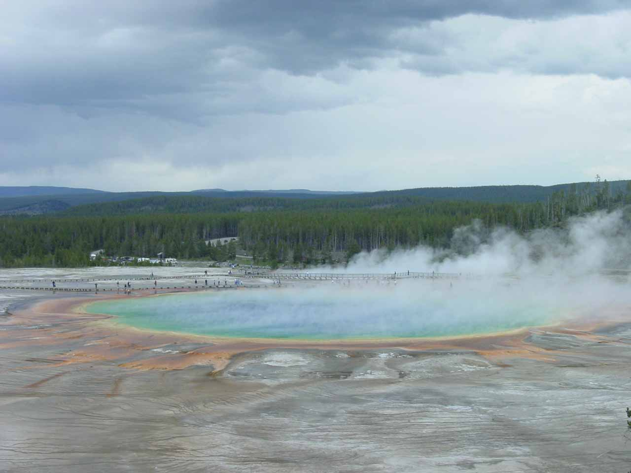 The Grand Prismatic Spring from the Fairy Falls Trail