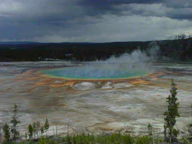 Fairy_Falls_005_06192004 - The Grand Prismatic Spring from the informal social trails up the hillside as seen back in June 2004