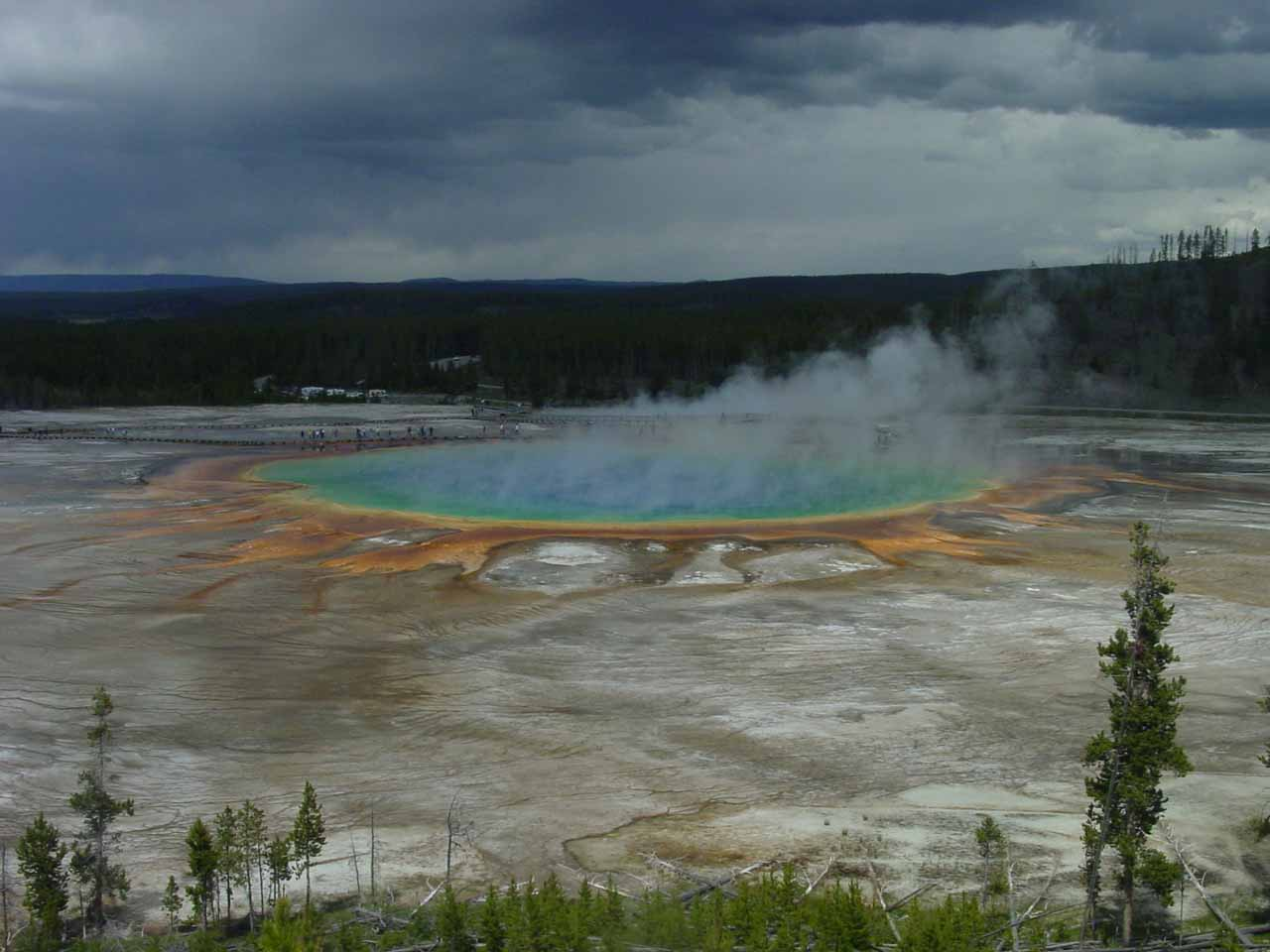 When we went waterfalling in Yellowstone (specifically Fairy Falls), we managed to get this unorthodox view of the Grand Prismatic Spring