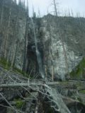 Fairy_Falls_013_06192004 - Last look at Fairy Falls fronted by lots of deadfall from the 1988 fires as seen during our June 2004 visit