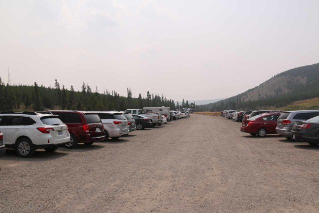 Fairy_Falls_Yellowstone_002_08112017 - Looking back at the very full parking lot at the Fairy Falls Trailhead