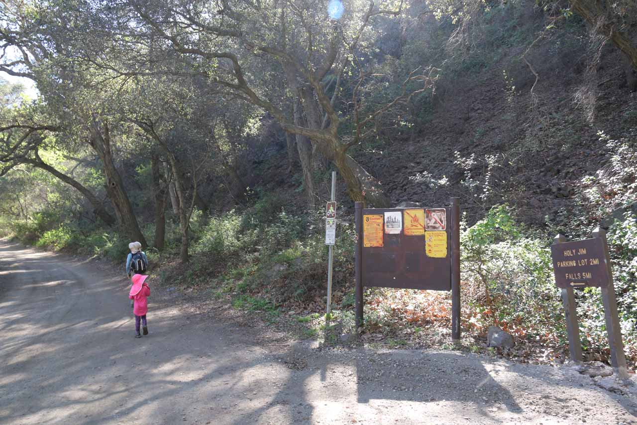 At first, we tried to follow some hiking blog directions, which had us follow Trabuco Creek Road then look for Falls Canyon's mouth somewhere near this sign