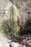 Falls_Canyon_Falls_075_02212016 - Tahia chucking rocks into the shallow plunge pool beneath Falls Canyon Falls
