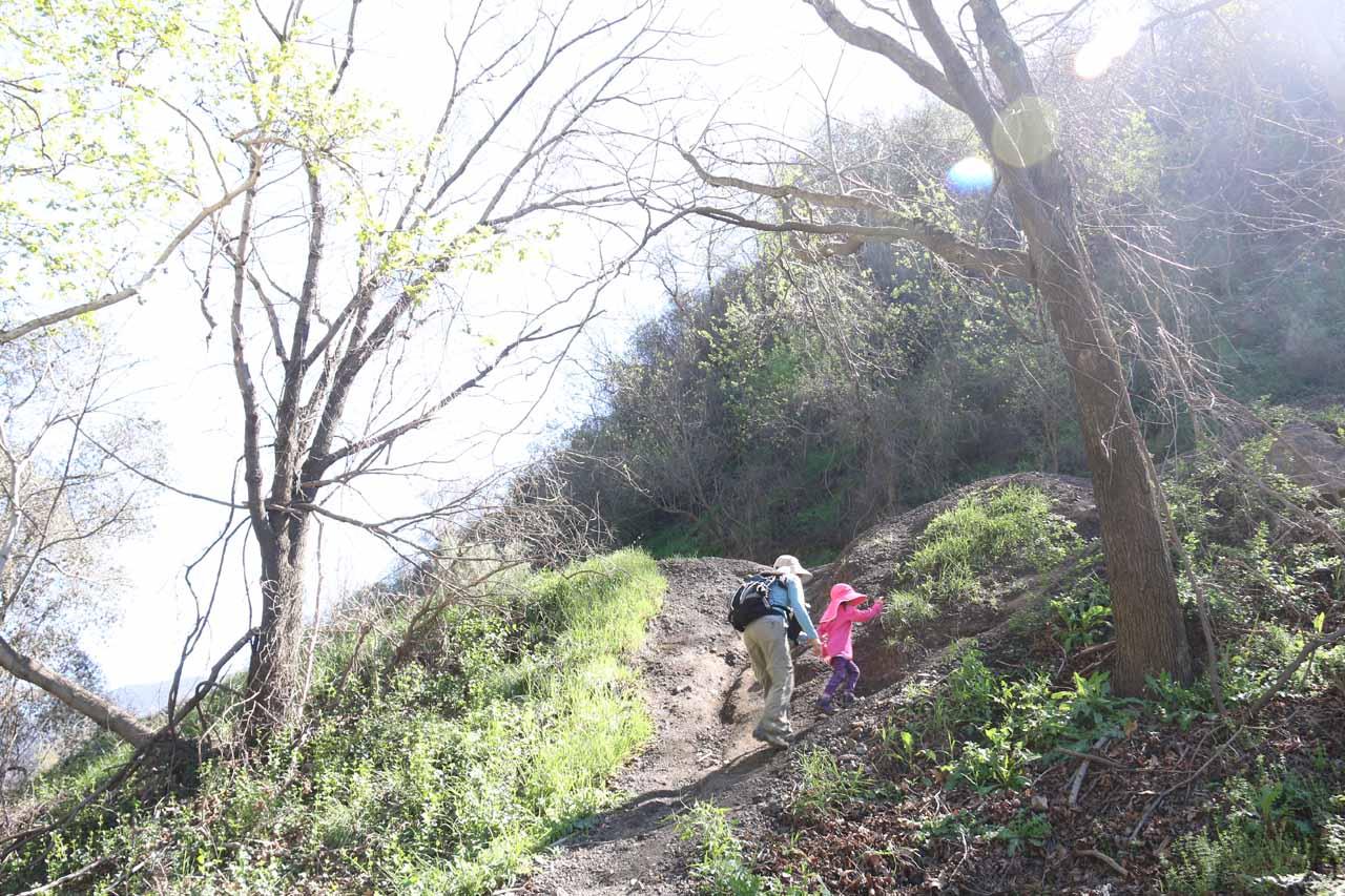 Tahia and Julie making the final climb back up to Trabuco Creek Road