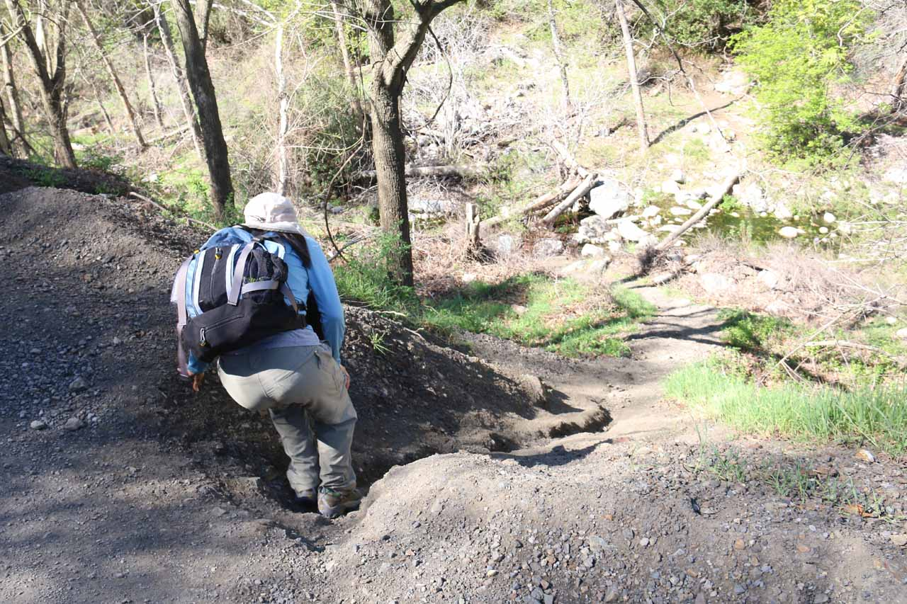 Julie making her scramble down towards Trabuco Creek and the mouth of Falls Canyon