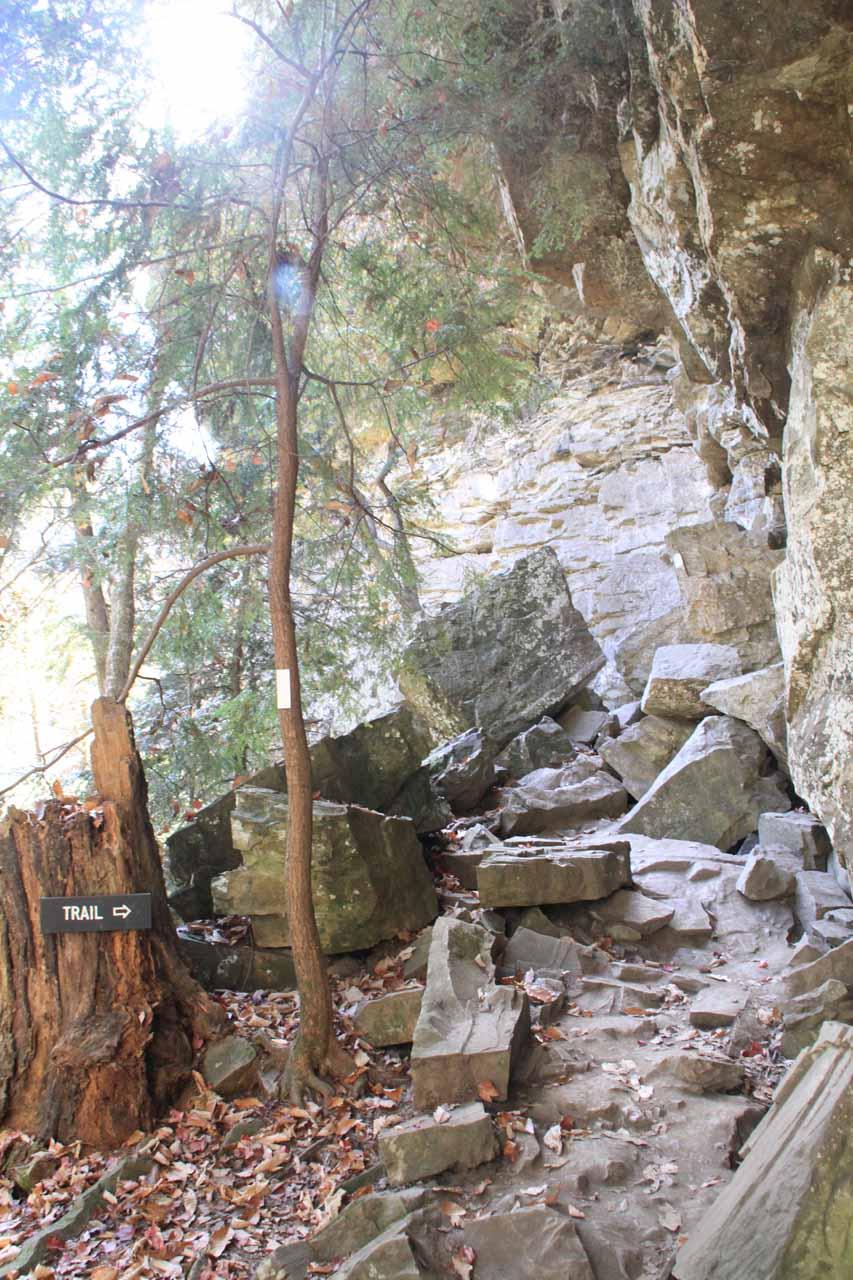 Scrambling through the boulder field