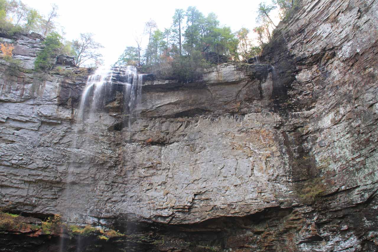 Looking up towards Falls Creek Falls and the trickling Coon Creek Falls