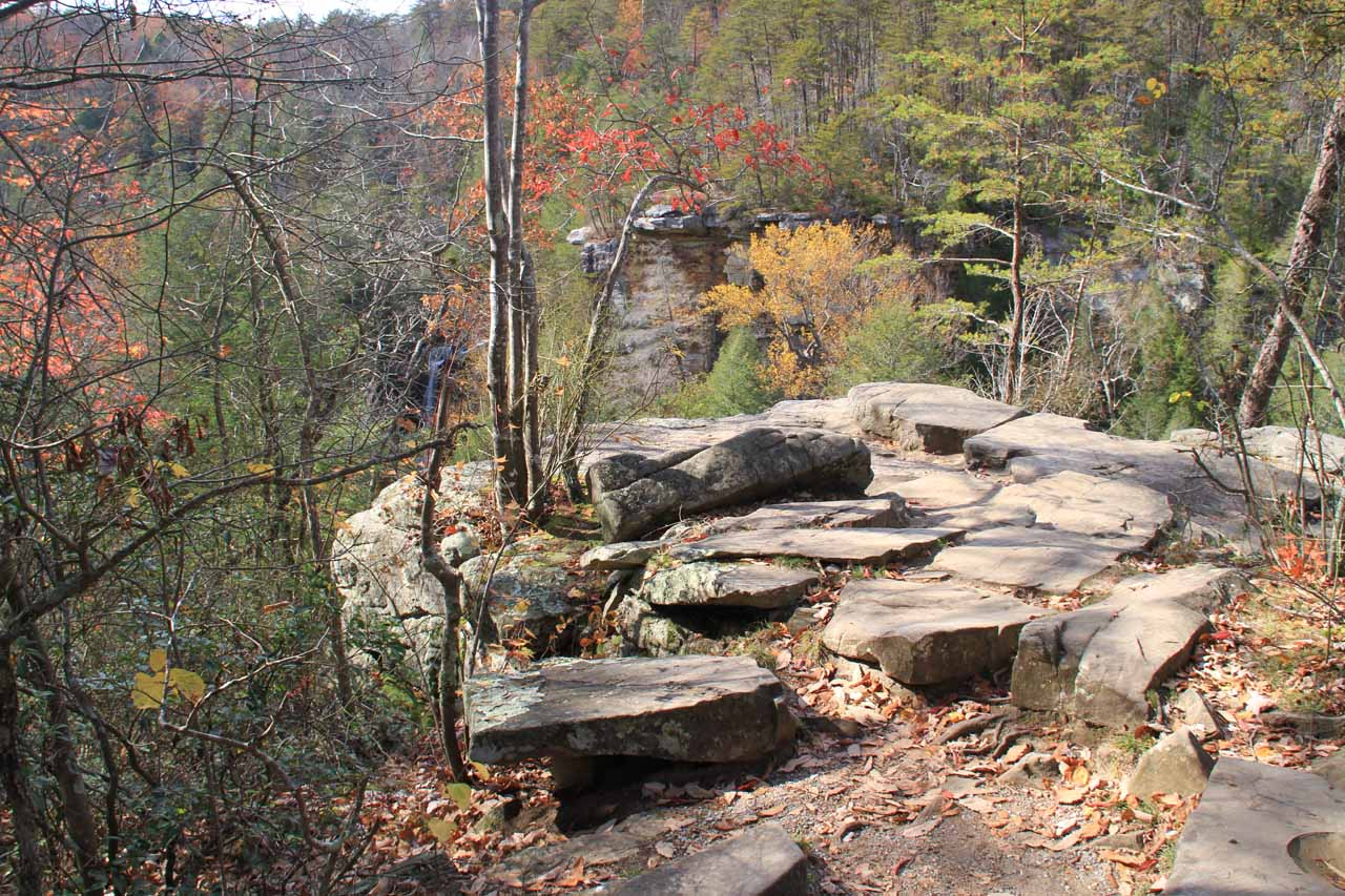 The rocky outcrop for the falls overlook