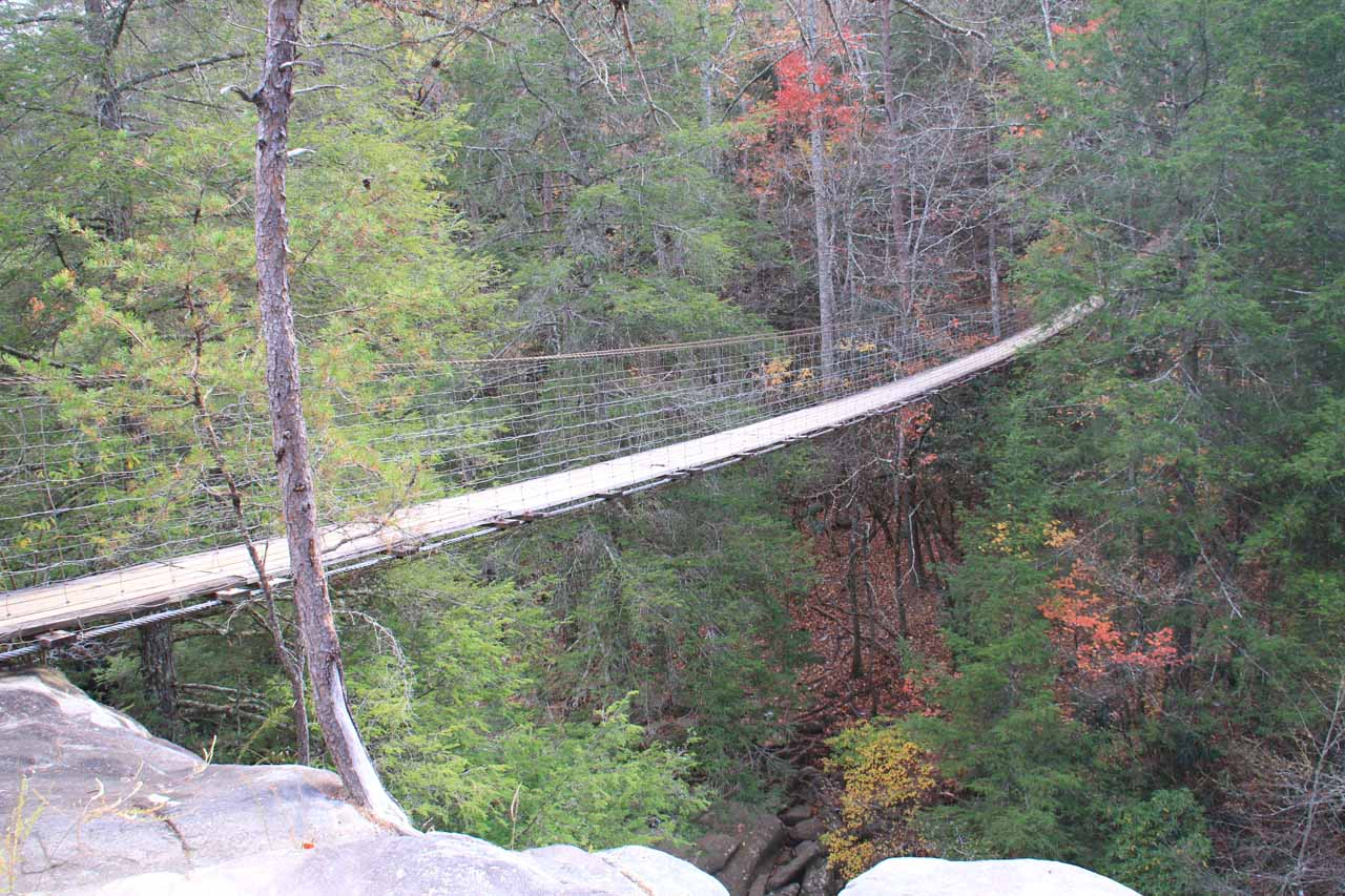 The suspension bridge over Piney Creek