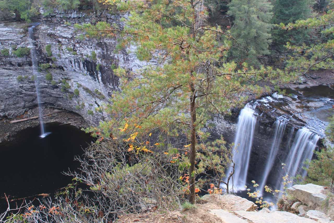 Cane Creek Falls (right) with Rockhouse Creek Falls (left)