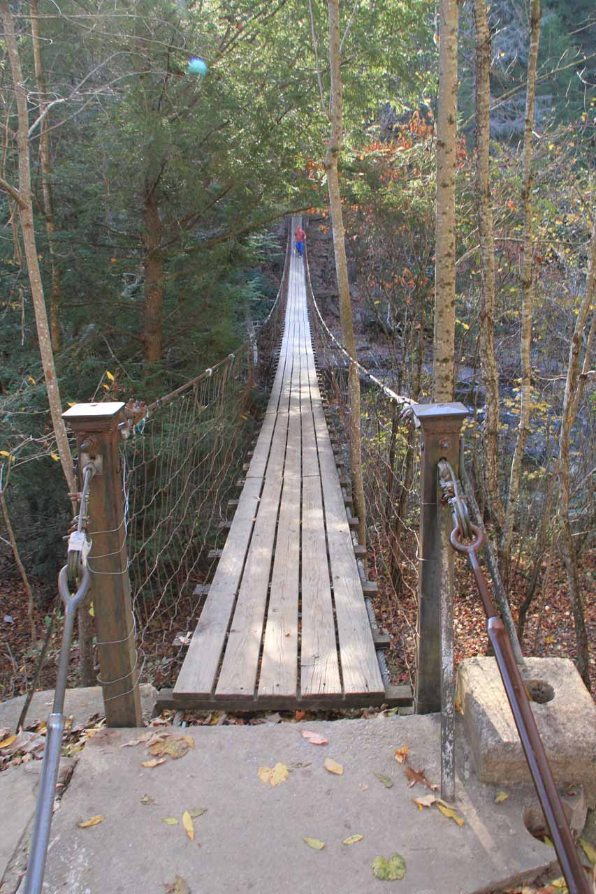 Going back across the swinging bridge