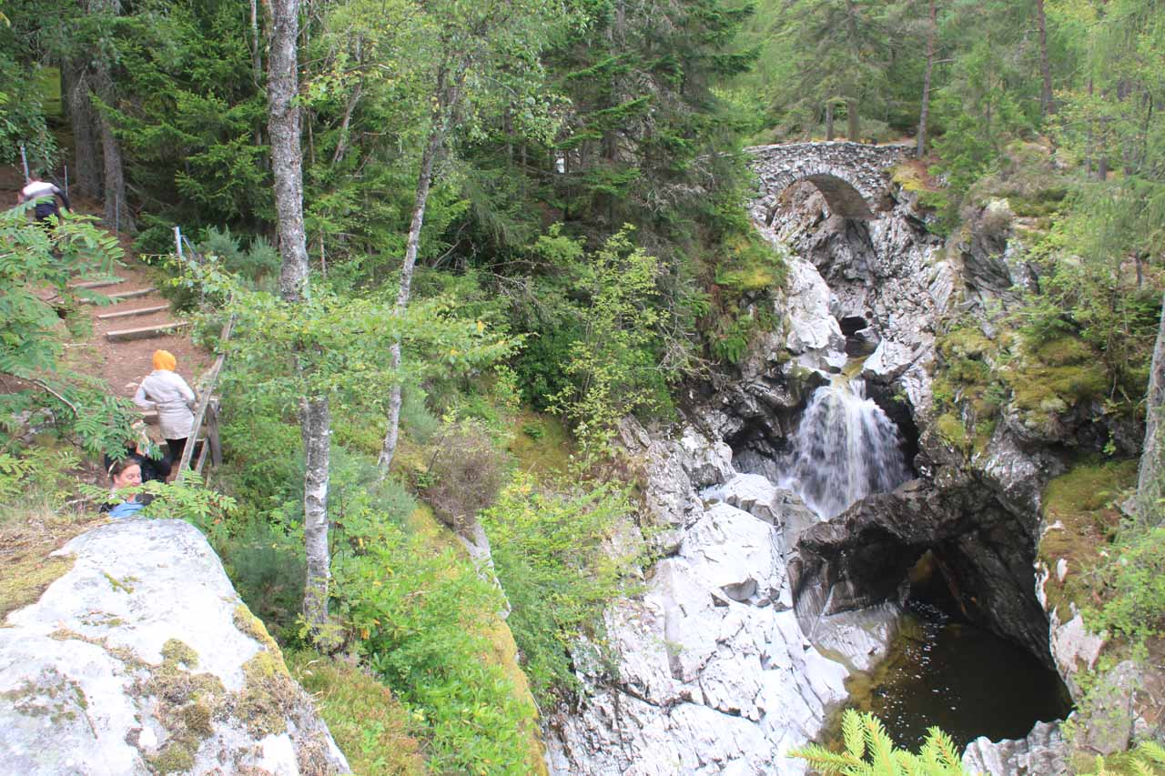 After about 15 minutes, we made it to an overlook taking in the Lower Falls of Bruar and its natural bridge