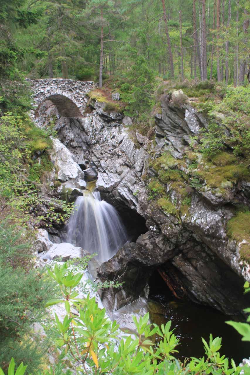 The Lower Falls of Bruar and natural bridge